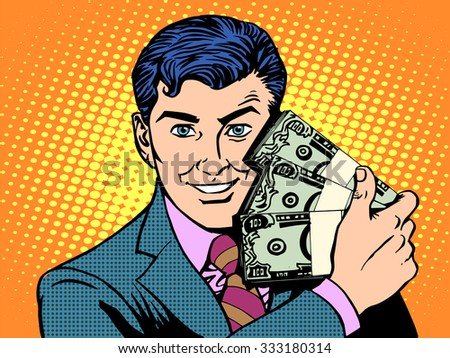 Rich with wads of dollars. The business concept of financial success pop art retro style - stock vector