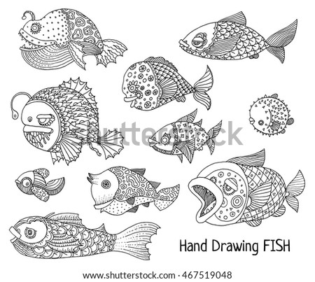 richly decorated fish vector hand drawing illustration set