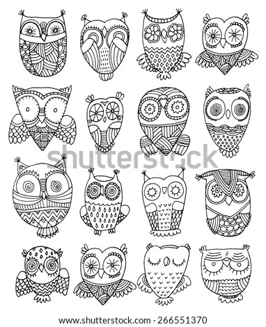 richly decorated owls vector hand drawing illustration set - stock vector