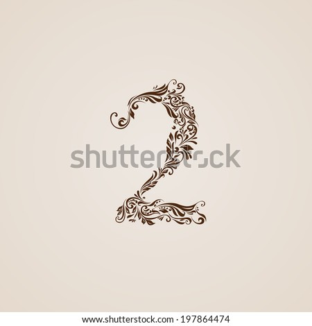 Richly decorated two digit on beige background.