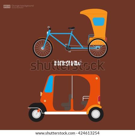 Rickshaw flat design. Indian rickshaw. Indian rickshaw. Auto rickshaw and pedicab. Travel transport taxi, tourism and vehicle. Traditional india rickshaw silhouette cycle cab. Vector illustration. - stock vector