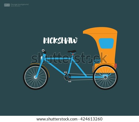 Rickshaw flat design. Indian rickshaw. Indian rickshaw. Auto rickshaw and pedicab. Travel transport taxi, tourism and vehicle. Traditional india rickshaw silhouette cycle cab. Vector illustration. - stock vector