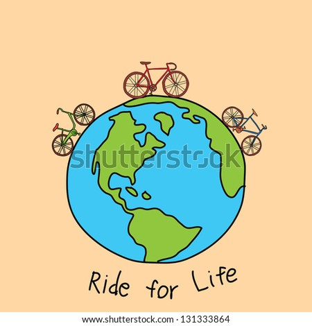 ride for life concept, hand drawing doodle style - stock vector