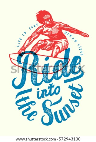 ride into the sunset realistic vintage surfer red and blue print