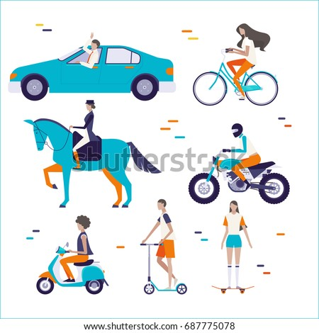 Ride things and people character vector illustration flat design