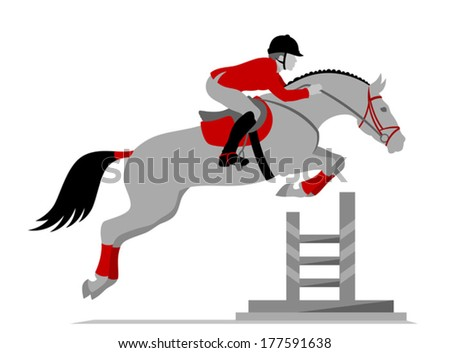 Rider on a horse jumping - stock vector