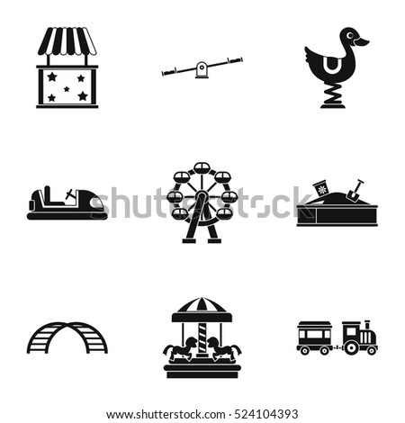 Rides icons set. Simple illustration of 9 rides vector icons for web