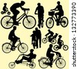riding bicycle - vector - stock vector