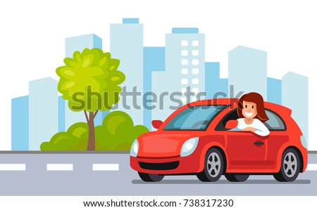 Riding on the car. Happy woman rides car in city. Vector flat