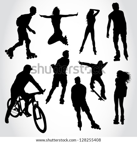 Riding people silhouettes - stock vector