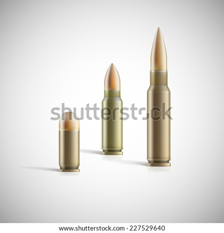 Rifle and pistol bullets isolated on white background. Photo-realistic vector illustration - stock vector