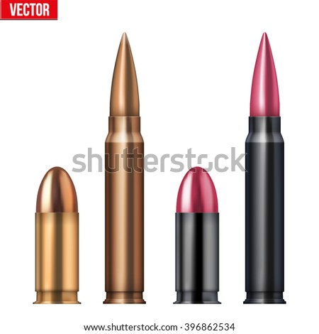 Rifle and revolver Bullets . Vector Illustration Isolated on white background. - stock vector