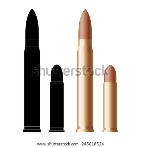 Rifle bullet and pistol bullets icon isolated on white