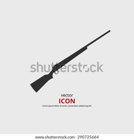 Rifle icon vector illustration. Black silhouette gun - stock vector