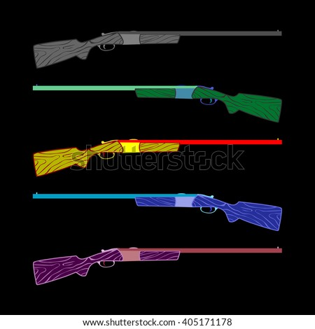 rifle in a different form five rifles bright colors. caricature, cartoon. for advertising and postcards. vector illustration  - stock vector