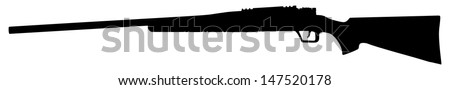 Rifle isolated on white background vector,deadly handgun, dangerous weapon, black army and hunting firearm, world war 2, anti terrorism, aggression, arm, military machine,automatic  - stock vector