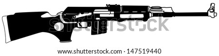 Rifle isolated on white background vector, kalashnikov rifle ,deadly handgun, dangerous weapon, black army and hunting firearm, world war 2, anti terrorism, aggression,arm, military machine,automatic  - stock vector