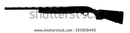 Rifle isolated on white background vector silhouette.Deadly handgun, weapon, army and hunting firearm, anti terrorism, military machine gun. - stock vector