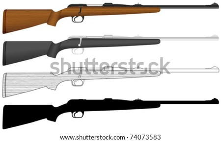 Rifle on a white background. Vector illustration.