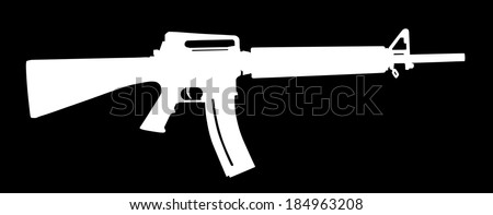 Rifle white vector silhouette isolated on black background. - stock vector