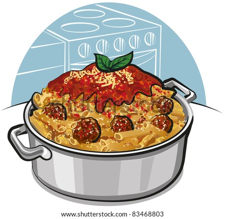 rigatoni pasta with meatballs - stock vector
