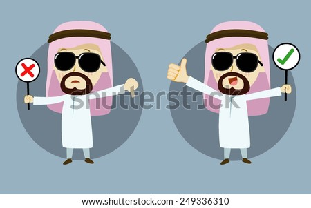 right and wrong -  cross mark signs. arab businessman cartoon vector  - stock vector