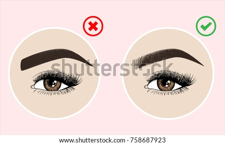 Right Wrong Eyebrow Coloring Eyebrows Shapes Stock Vector (2018 ...