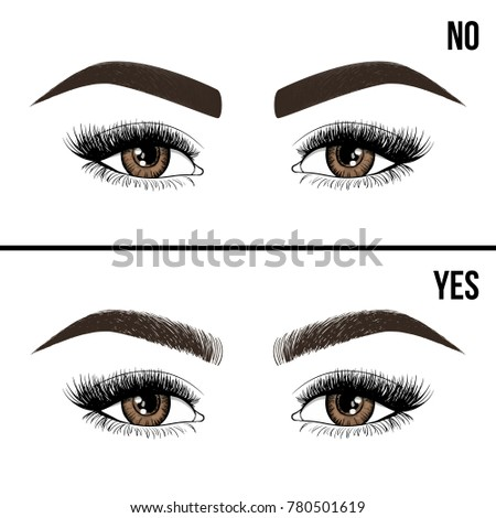 Right Wrong Eyebrow Coloring Eyebrows Shapes Stock Vector 780501619 ...
