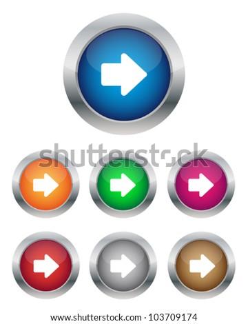 Right arrow buttons - stock vector