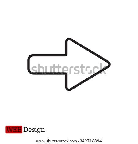 Right arrow symbol line icon - stock vector