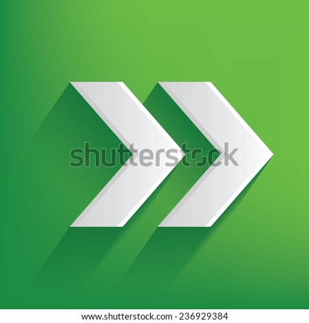 Right arrow symbol on green background,clean vector - stock vector