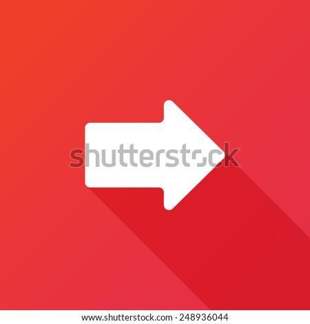 Right arrow symbol on red background, clean vector. Long shadow - stock vector