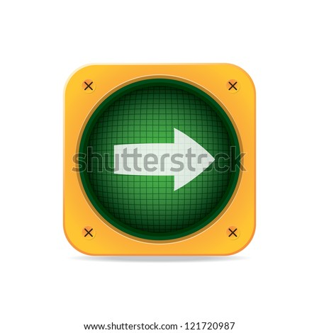 Right Arrow Traffic Light. Vector icon
