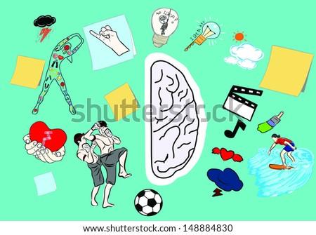 Right brain function  - stock vector