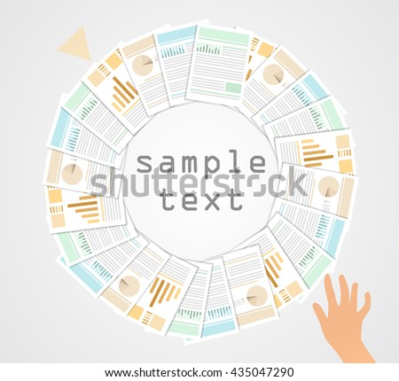 Right contract.Contracts lined up in a circle, hand pointing, taking, choosing,  isolated objects.  - stock vector
