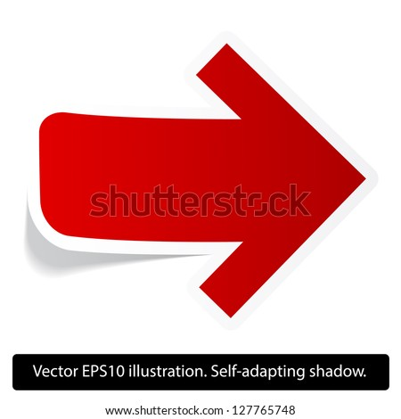 Right direction red paper arrow. Paper red arrow. Vector. Eps10. - stock vector