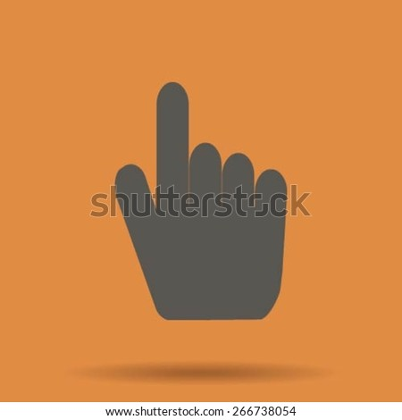 Right forefinger pointing to - stock vector