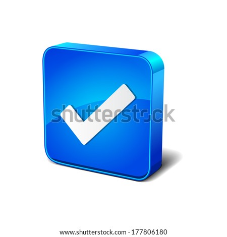 Right Mark  3d Rounded Square Blue Vector Button Icon Design - stock vector