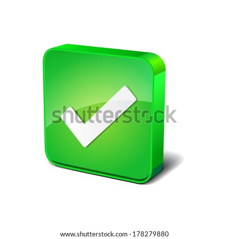 Right Mark 3d Rounded Square Green Vector Button Icon Design - stock vector
