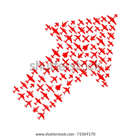 Right-top arrow of vector airplanes - stock vector