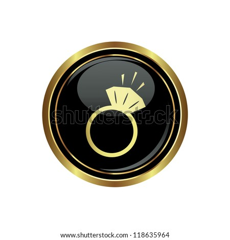 Ring icon on the black with gold round button. Vector illustration - stock vector