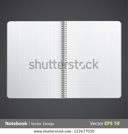 Ring notebook with squared. Vector design. - stock vector