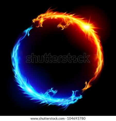 Ring of Blue and Red Fiery Dragons. - stock vector