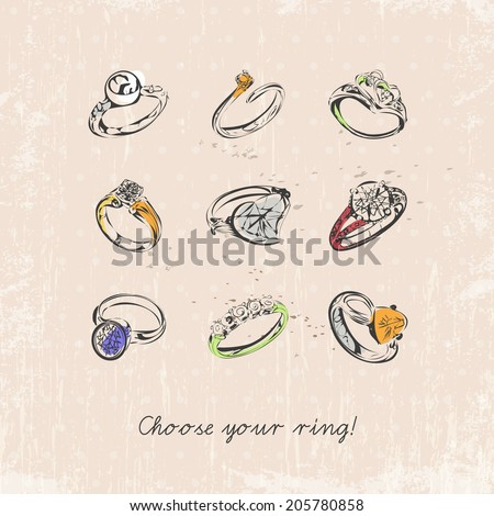 Ring set with precious stones. Vintage style. Sketch. Design for T-shirts. - stock vector