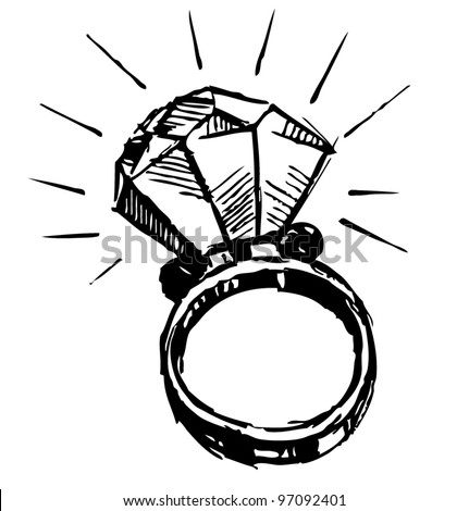 Ring with a big sparling diamond isolated on white background. Sketch vector illustration - stock vector