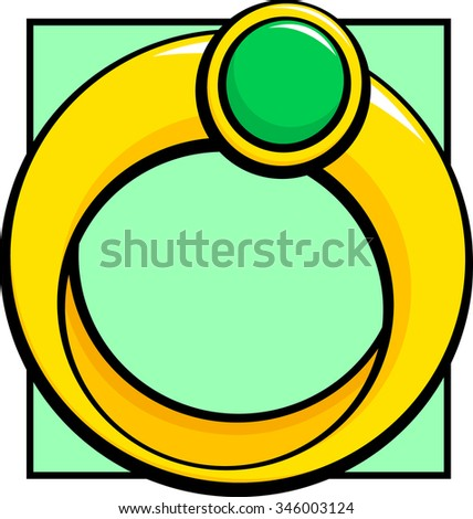 ring with emerald - stock vector