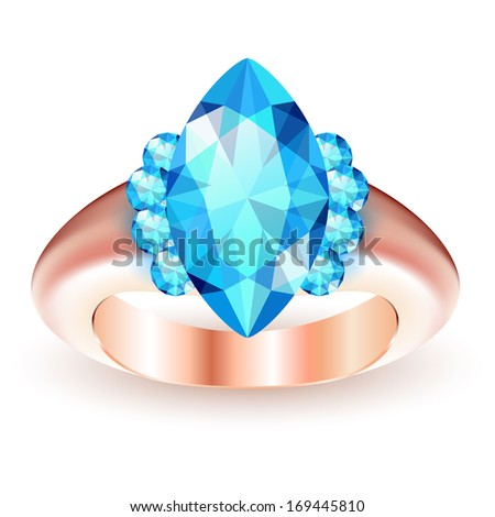Ring with gemstone isolated on white background - stock vector