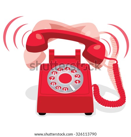 Ringing Red Stationary Phone With Rotary Dial - stock vector