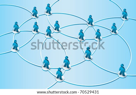 rings  with intersection symbolizing a network - stock vector