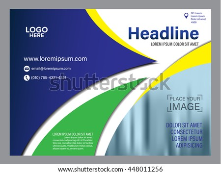 rio brazil flag color brochure layout stock vector 448011256, Presentation templates